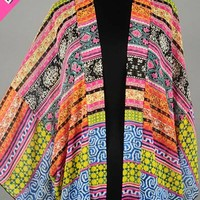 Multi Spring Kimono Wrap, colorful, patterned, bright colors, lightweight