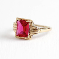 Vintage 10k Rosy Yellow Gold Created Ruby Ring - Retro 1940s Size 5 1/2 Rectangular Cut 1.93 CT Red Pink Stone July Birthstone Fine Jewelry
