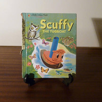 """Vintage 1983 Book """"Scuffy The Tugboat"""" - A little Golden Book / Kids Book / Adventures Down the River / Retro Golden Press Book"""