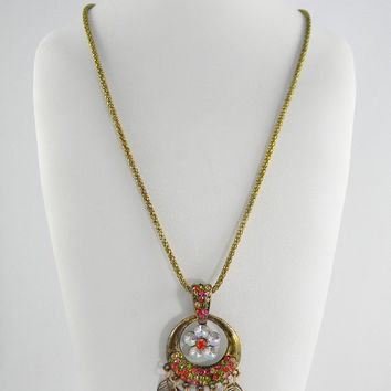 Dangling FlOwEr & Filigree LeAvEs Chandelier Pendant Statement Necklace Anthropologie Inspired