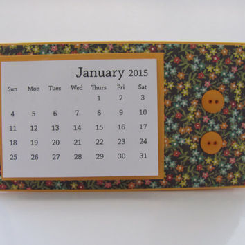 Multi Colored Flower Pattern 2015 Desk Calendar, Desktop Calendar,  2015 Calendar, Orange