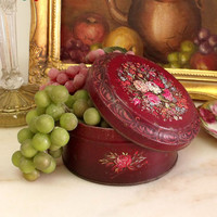 Vintage flowers chocolate metal tin England to Portugal Burgundy floral shabby chic tin box