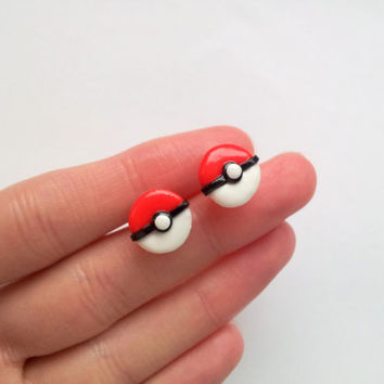 Pokeball post earrings by geeniejay on Etsy