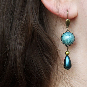 feminine dangle cabochon earrings // vintage inspired drop earrings turquoise, petrol blue, bronze - boho jewelry for girls, women