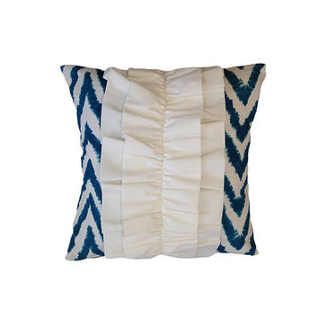 """Aquarius Blue 18"""" x 18""""  Pillow Cover with Ruffle"""