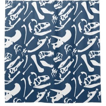 Dinosaur Bones (Blue) Shower Curtain