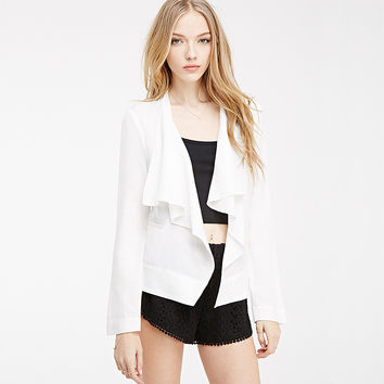 Casual White Long Sleeve Open Front Cardigan