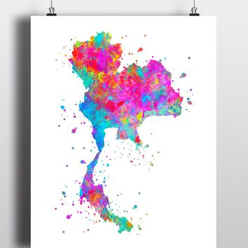 Thailand Map Art Print - Unframed