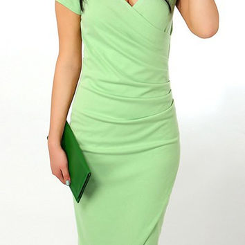 V-Neck Short Sleeve Body-con Dress