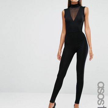 ASOS TALL Jersey Jumpsuit with High Neck and Mesh V Inserts at asos.com