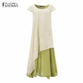 7 Color ZANZEA 2018 Women Summer Maxi Long Dress Casual Loose Dresses Short Sleeve Floral Embroidery Two Layers Vintage Vestidos
