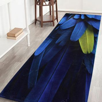 Feather Pattern Coral Velvet Bathroom Rug