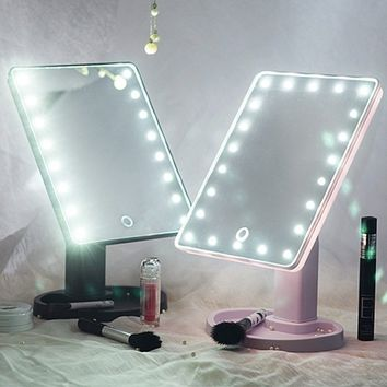 16/22 LED Touch Screen Makeup Mirror 360 Rotated Tabletop Cosmetic Light Up Mirror