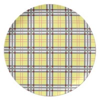 Classic Yellow and Red Plaid Tartan Pattern Plate