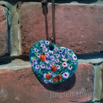 flower bed paiinting necklace polymer clay handpainted charm daisy pendant handmade ornament