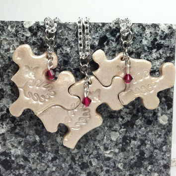 Bridesmaid Best Friend Jewelry Puzzle Necklace Set of 3 Polymer Clay with Swarovski Crystals Set 155