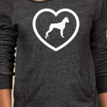 Gray Heart Dog Print Off Shoulder Shirt
