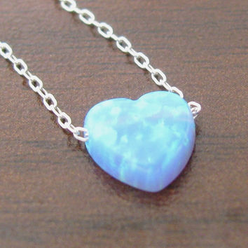 Opal heart necklace, heart necklace, silver necklace, opal necklace, blue opal necklace, glistening necklace, fire opal necklac