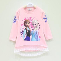 Hot! 2014 Spring Autumn Children Girls Frozen Elsa Anna Lace T-Shirt Cotton Long Sleeve Kids Clothing Child Clothes Casul Kids Tees.