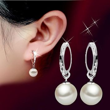 Silver Glass Luster Natural Pearl Hoop Earrings Luxurious Platinum Plated Drop Earring Jewelry