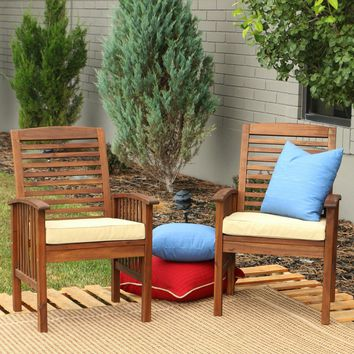 Dark Brown Acacia Patio Chairs with Cushions (Set of 2)