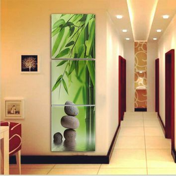 3 Panel Stone Bamboo Canvas Painting Wall Art Oil Pictures Home Decor for Living Room no frame