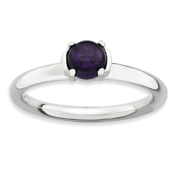 Sterling Silver Stackable Expressions Polished Amethyst Ring