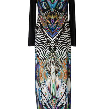 Plus Size Maxi Dress, Printed Winter Dress, Jersey and Leather Dress, Psychedelic Dress, Long Sleeves Dress, Urban Dress, Slimming Dress