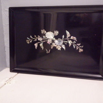 Vintage, Couroc, Serving Tray, Oriental Elegance, Black, Mother of Pearl Inlay