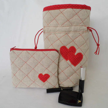 Premium quality linen drawstring pouch (round bottom) and cosmetic bag, make up bag in minimalist style, READY TO SHIP!