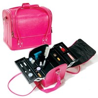 Pink Roll Top Makeup Case W/ Straps