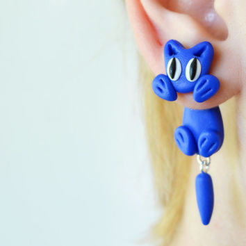 blue cat double sided stud,front back earrings,unique ear jacket,two part animal dangling,polymer clay post clinging fake gauge,cute crawler