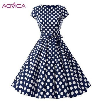 Aovica 2018 Women Robe Swing Dress Retro Pin Up Vintage 1950s Rockabilly Dot Summer female Dresses Elegant Tunic Vestidos