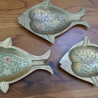 Set of Three Vintage Brass Indian Persian Boho Bohemian Fish Tray Catch All Ash Tray Great Decor Office Organization