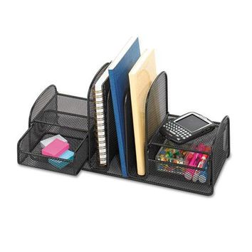 Safco® Onyx™ Mesh Desk Organizer with Three Vertical Sections-Two Baskets