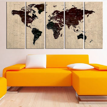 large world map canvas print wall art, modern art, extra large world map wall art, rustic world map push pin wall decor canvas No:5S66