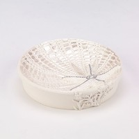 Sequin Shells Soap Dish (White)