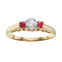 Cherish Always Certified Diamond & Ruby Engagement Ring in 10k Gold (1/7 Carat T.W.)