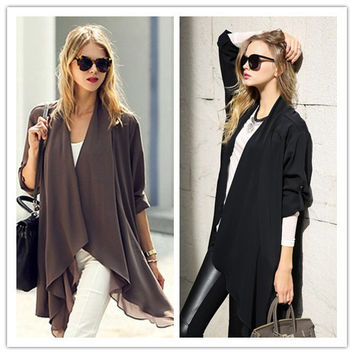 Plain Sleeve None-Button Asymmetrical Cardigan