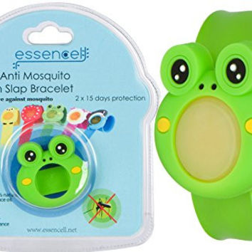 All Natural Mosquito Repellent Cartoon Slap Bracelet For Kids, Best Safe Bug & Insect Repellents By Essencell - DEET FREE, Waterproof, No Spray +2x Refills - Protection up to 30 days - Green Frog