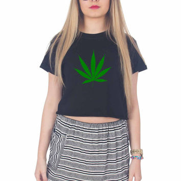 cannabis leaf For Womens Crop Shirt ***