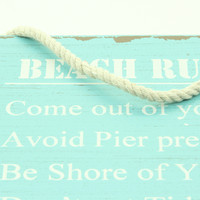 """Beach Rules"" Wooden Sign"