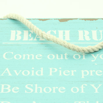 """""""Beach Rules"""" Wooden Sign"""