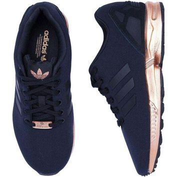ADIDAS ZX Flux Women Running Sport Casual Shoes Sneakers black-golden soles H