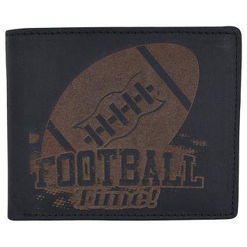 Football Logo Mens RFID Blocking Genuine Leather Bifold Wallet