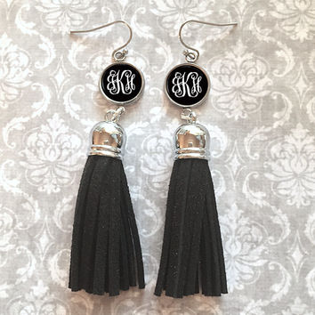 Black Monogram Tassel Earrings, Personalized Earrings - Style 449