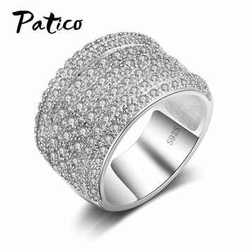 PATICO 925 Sterling Silver Clear CZ Crystal Full-Zirconia Wedding Rings For Women&Men Wide Finger Rings Bijoux Anillos Big Sizes