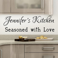 Kitchen Decals - Personalized Kitchen Decal - by Decor Designs Decals, Seasoned with Love - Name Decal - Kitchen Quotes - Vinyl Quote - Decals - Kitchen Decal- B29
