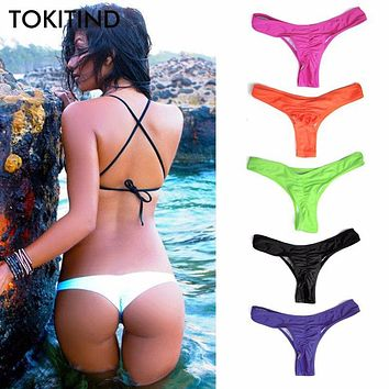 TOKITIND 2017 Cheeky Bottom Sexy Brazilian Mini Thong V Shape G-String Bikini Beach Underwear Swimwear Briefs Swimsuit Panties