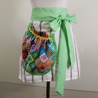 Women's Green Stripe Towel Half Apron with Large Pocket